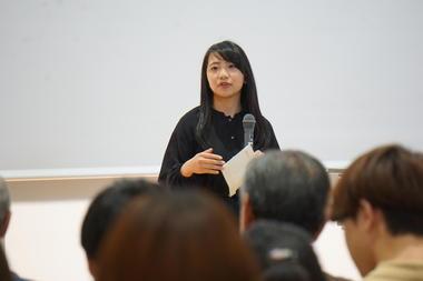 ウェルカムスピーチをしたグローバルマネジメント学部2年生